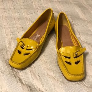 Patent leather yellow loafers